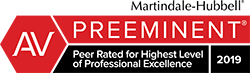 AV Preeminent Peer Rated for Highest Level of Professional Excellence 2019